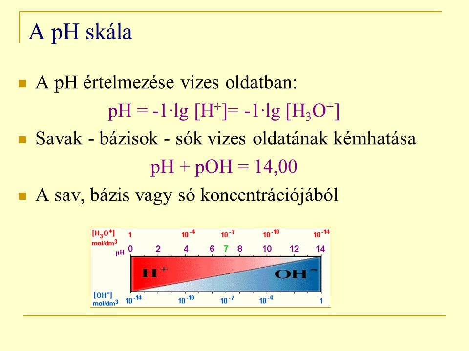 pH = -1·lg [H+]= -1·lg [H3O+]